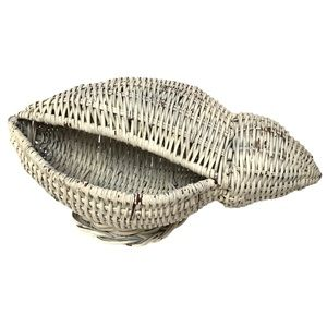 RARE Vintage conch shell wicker basket decoration